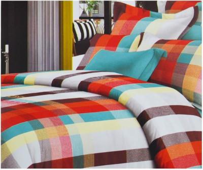 Saboo Sons Cotton Checkered Double Bedsheet