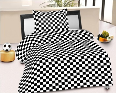 LISSOME Cotton Checkered Single Bedsheet