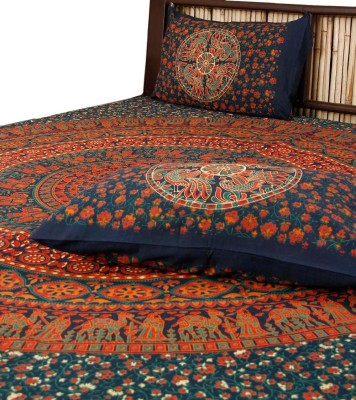Unravel India Cotton Abstract Queen sized Double Bedsheet