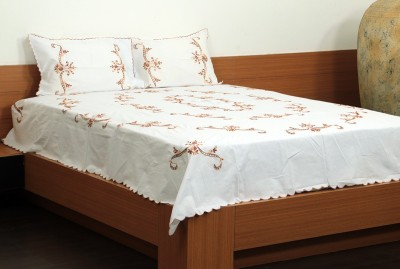 Unique Crafts Cotton Embroidered Double Bedsheet