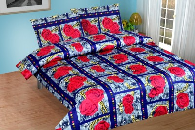 NH Cotton Goldstar Satin Floral Double Bedsheet