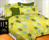 Prisha Cotton Floral Double Bedsheet(1 Double Bed Sheet, 2 Pillow Covers, Green)