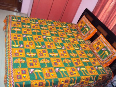Vivid Rajasthan Cotton Embroidered King sized Double Bedsheet