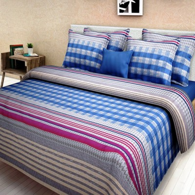 First Row Cotton Striped King sized Double Bedsheet