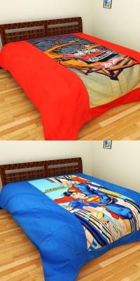 Superman and Hot Wheels Kids Bed sheet by Portico Satin Cartoon King sized Double Bedsheet