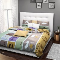 Rago Cotton Abstract Double Bedsheet(1 double bedsheet, 2 pillow case(s), Yellow)