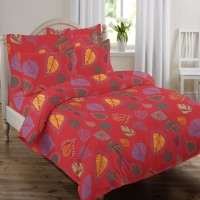 Swaas Cotton Floral Queen sized Double Bedsheet(1 Bedsheet, 2 Pillow Covers, Red)