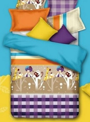 Silver Thread Polycotton Geometric Double Bedsheet