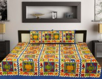 jaypore Cotton Text Print King sized Double Bedsheet(One Bed Sheet 2 Pillow Cover, White)