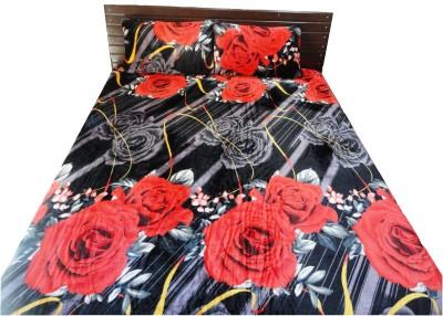 Amk Home Decor Silk Blend Floral Double Bedsheet