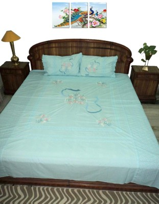 Amita Home Furnishing Cotton Embroidered Queen sized Double Bedsheet