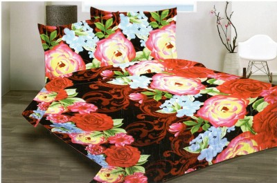 Komfort Linen Cotton Floral Double Bedsheet