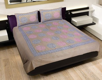 Chokor Cotton Geometric Double Bedsheet