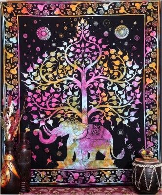 HAG Art and Craft Cotton Printed Queen sized Double Bedsheet
