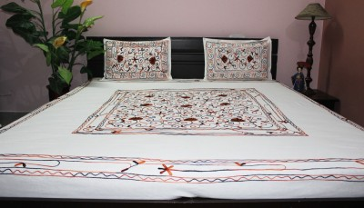 Eco Haat Cotton Embroidered King sized Double Bedsheet