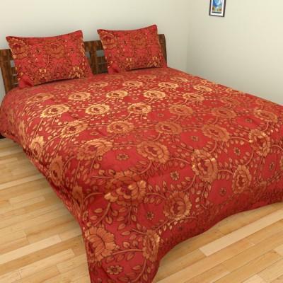 Nirmal Bichona Cotton Polyster Mix Polyester Silk Blend Floral Double Bedsheet