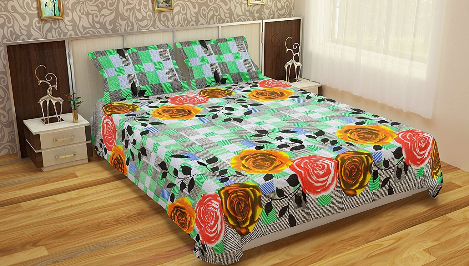 Comforthome Cotton Printed Double Bedsheet(1 bedsheet and 2 pillow cover, Multicolor)