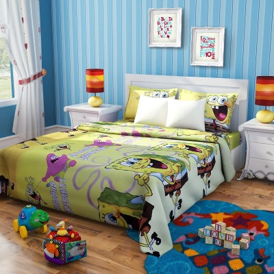 Singhs Villas Decor Polycotton Cartoon Double Bedsheet