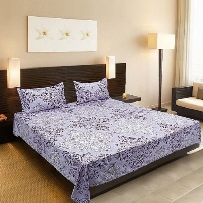 Silver Thread Cotton Printed Double Bedsheet