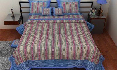 Om Prints Cotton Striped Double Bedsheet