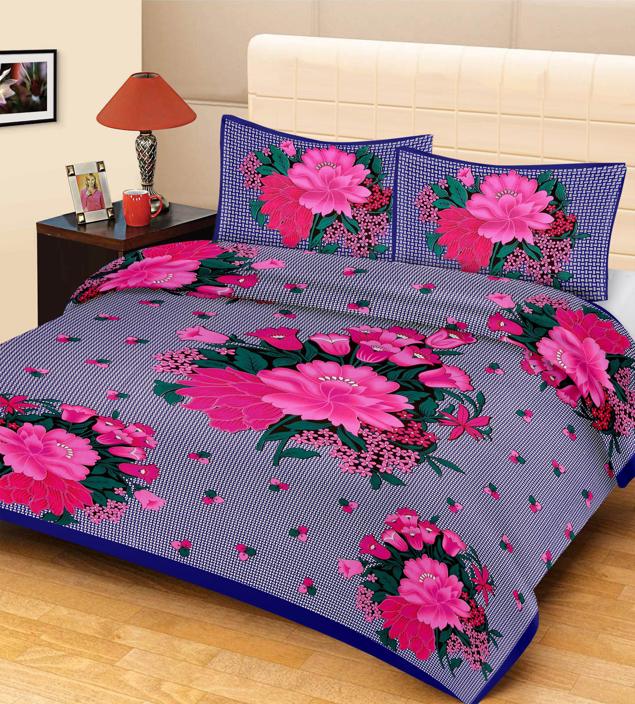 Metro Living Cotton Floral Double Bedsheet(1 Bedsheet & 2 Pillow Covers, Blue)