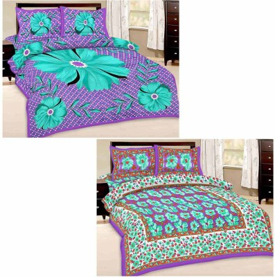 Tradition India Cotton Floral Double Bedsheet