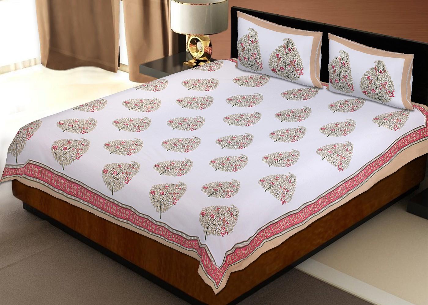 Rawaaz Cotton Abstract Queen sized Double Bedsheet