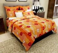 Home Candy Cotton Floral Double Bedsheet(1 Double Bed Sheet, 2 Pillow Covers, Orange)