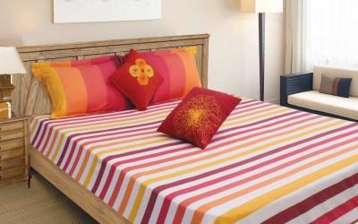 Elan Cotton Striped Double Bedsheet