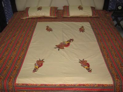 Kandkdecor Cotton Embroidered Double Bedsheet