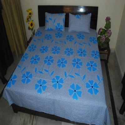 Lime Cotton Floral Double Bedsheet