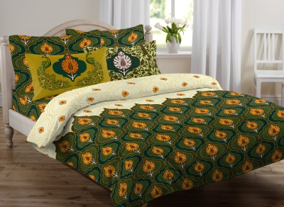 OSTATA Satin Floral King sized Double Bedsheet