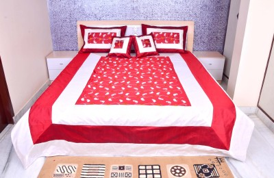 Luxurious Home Silk Embroidered Double Bedsheet
