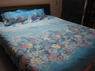 AyushFabrics Cotton Linen Blend Floral Double Bedsheet