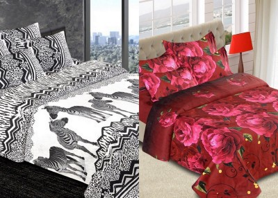 The Chaddar Cotton Linen Blend Abstract Double Bedsheet