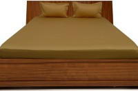 Misr Cotton Plain King sized Double Bedsheet(1 Bed Sheet, 2 Pillow Covers, Gold)