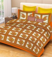 Metro Living Cotton Printed Double Bedsheet(1 Double Bed Sheet, 2 Pillow Covers, Orange) best price on Flipkart @ Rs. 449