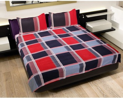 GRJ India Cotton Checkered Double Bedsheet