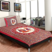 Chokor Cotton Printed Single Bedsheet(1 Single BedSheet, 1Pillow Cover, Red)