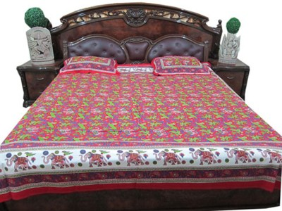 Indiatrendzs Cotton Abstract Queen sized Double Bedsheet