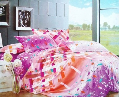 TJAR Polyester Abstract Double Bedsheet