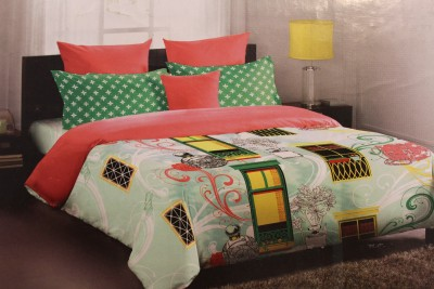 Portico New York Cotton Abstract Double Bedsheet