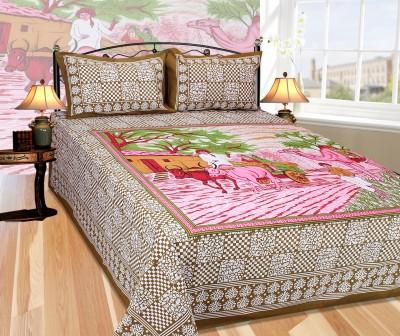 Décor mania Cotton Floral Double Bedsheet
