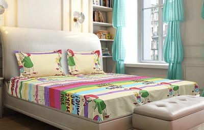 Little Friends Cotton Linen Blend Abstract Queen sized Double Bedsheet