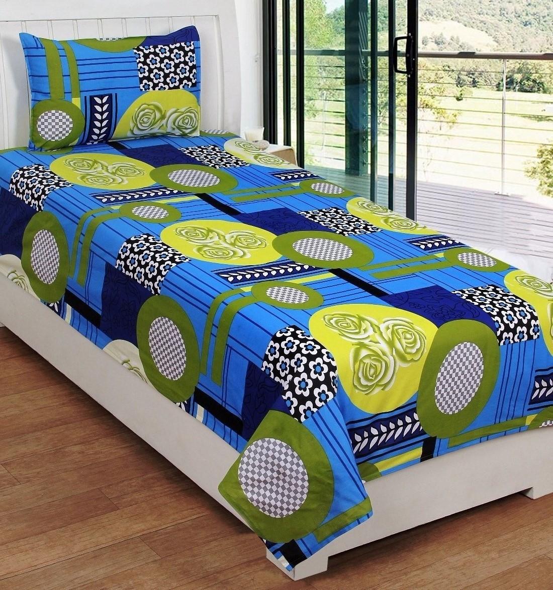 SYK Cotton Floral Single Bedsheet(1 Bedsheet & 1 Pillo cover, MULTICOLOUR)
