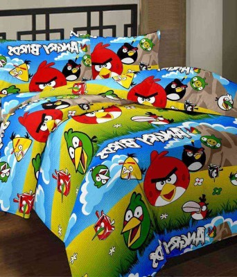 BlueeyE Satin Cartoon Double Bedsheet