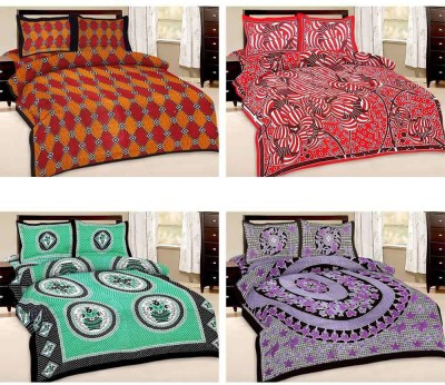 Tradition India Cotton Geometric Double Bedsheet
