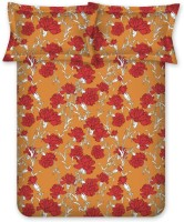 Diwali Gifts - Bombay Dyeing Cotton Floral Double Bedsheet(1 Double Bedsheet, 2 Pillow Covers, Orange)