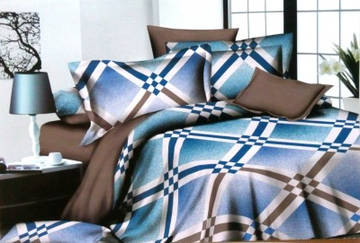 Night Gold Cotton Checkered Double Bedsheet
