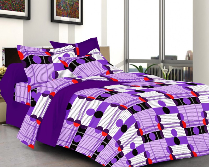 Prestige Cotton Checkered Queen sized Double Bedsheet Lily Prestige Printed Cotton Double Bed Sheet (1+2) Set